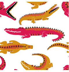 colorful crocodiles seamless pattern vector image