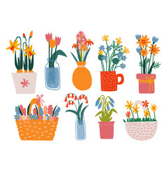 colorful spring flowers in vases set bouquets in vector image