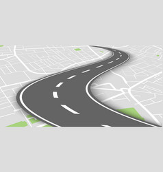 curved perspective road above city map vector image