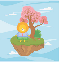 cute lion with sweater fantasy fairy tale vector image