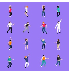 Dancing People Movements Isometric Icons vector image