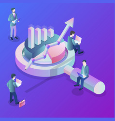 data analysis flat isometric concept vector image