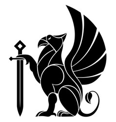 decorative griffin with sword vector image