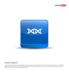 Dna icon - 3d blue button vector