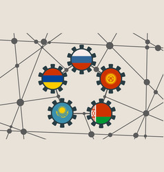 Eaeu union members national flags on gears vector