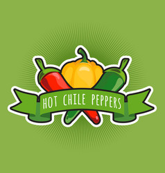 Emblem with chile and sweet peppers vector