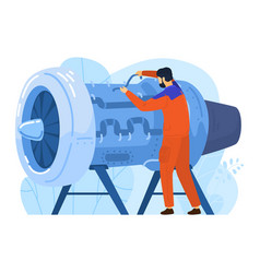 Engineer aircraft engine builder male character vector