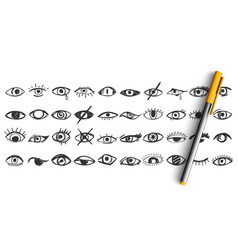eyes doodle set vector image