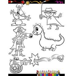 Fantasy set cartoon coloring page vector