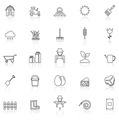Farming line icons with reflect on white vector image