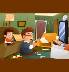 Father and son playing video game at home vector
