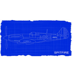 Fighter plane blueprint vector