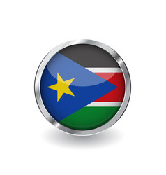 flag of south sudan button with metal frame and vector image