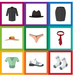 flat icon garment set of elegant headgear stylish vector image