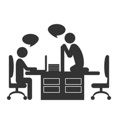 Flat office icon with dialogue between workers vector