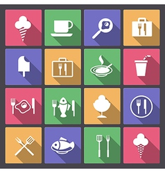 Food and drink icons in flat design vector