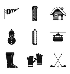Freeze icons set simple style vector
