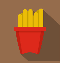 french fries in a red box icon flat style vector image
