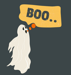 Ghost character on halloween autumn holiday vector