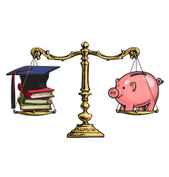 graduation cap books and piggy bank on old golden vector image