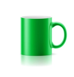Green mug on white vector