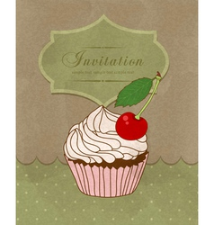 greeting card with a birthday cake vector image vector image