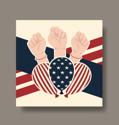 happy labor day card with hands fist vector image