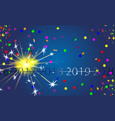 happy new year blue background with silver vector image