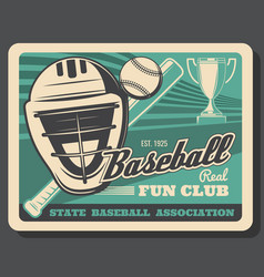 helmet ball and bat baseball sport items vector image