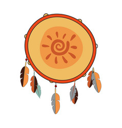 indian tambourine with sun vector image