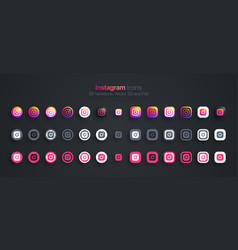 Instagram icons set modern 3d and flat vector