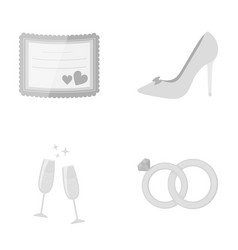 Invitation bride s shoes champagne glasses vector