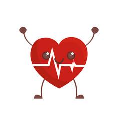 kawaii heartbeat healthcare image vector image