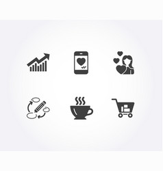 keywords demand curve and love icons coffee vector image
