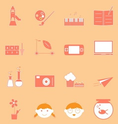 Kid activities orange icons set vector