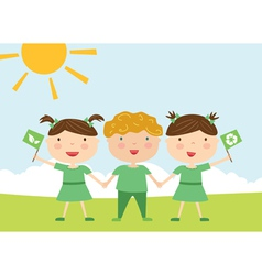 Kids with eco flag vector image