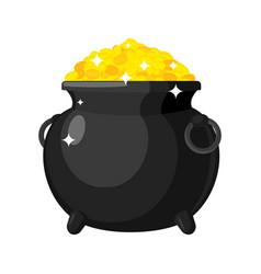 Leprechaun pot gold isolated bowler golded coins vector