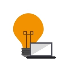 Lightbulb and laptop icon vector