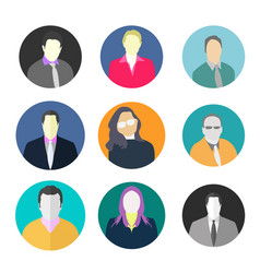 man woman avatar circle icon set man circle avata vector image