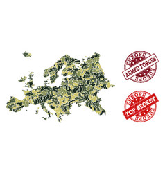 Military camouflage collage of map of europe and vector