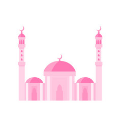 Mosque building pink color vector