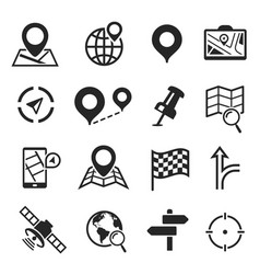 navigation and gps icon set cartography plan vector image