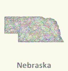 Nebraska line art map vector