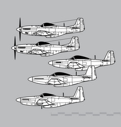 north american p-51 mustang vector image