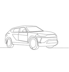 One line drawing of tough big suv car family vector
