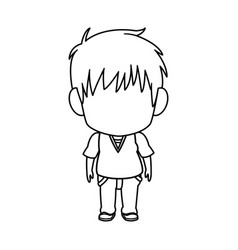 outlined little boy anime hair style stand vector image