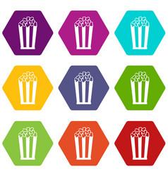 popcorn in striped bucket icon set color vector image