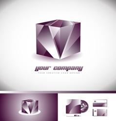 Purple 3d cube logo icon design vector image vector image