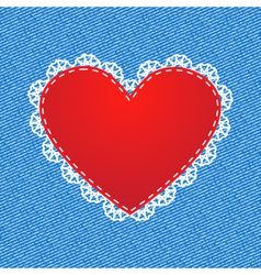 red silk heart vector image