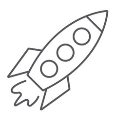 rocket thin line icon transportation and space vector image